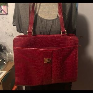 Liz Claiborne red faux leather handbag